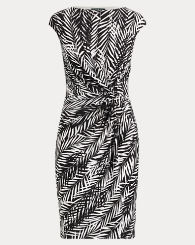 Palm-Print Jersey Dress