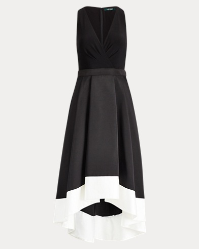 Satin-Trim Fit-and-Flare Dress