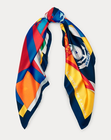 Nautical Silk Twill Scarf