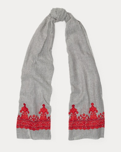 Embroidered Cotton Scarf