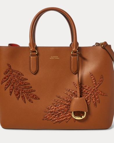 Leaf-Applique Leather Satchel