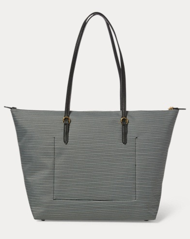 Nylon Striped Tote Bag