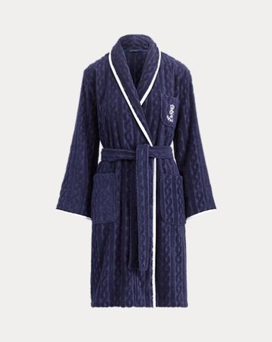 Cable Cotton Kimono Robe