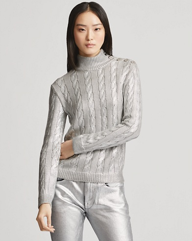 Silk Cable Turtleneck Sweater