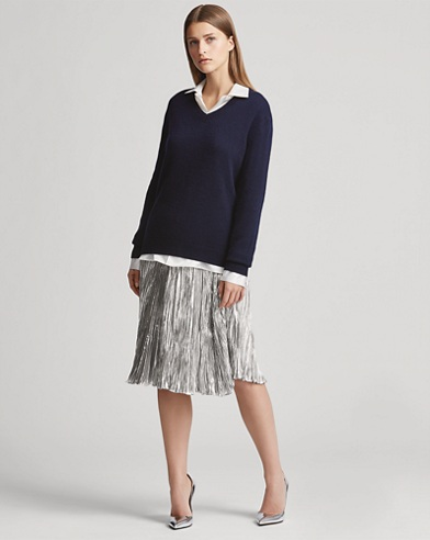 Kiernan Pleated Lamé Skirt