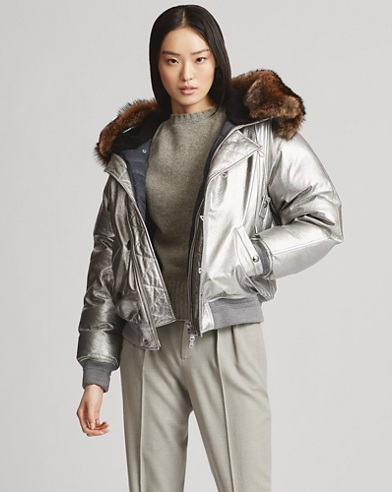 Metallic Leather Snorkel Coat