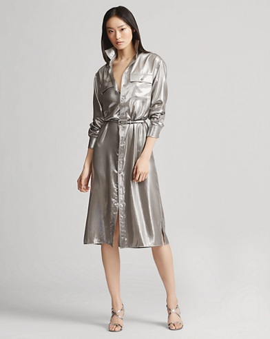 Christiane Foil Shirtdress