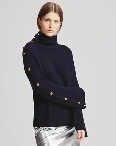 Button-Sleeve Cashmere Sweater