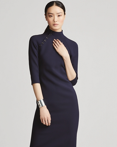 Button-Trim Wool-Silk Dress