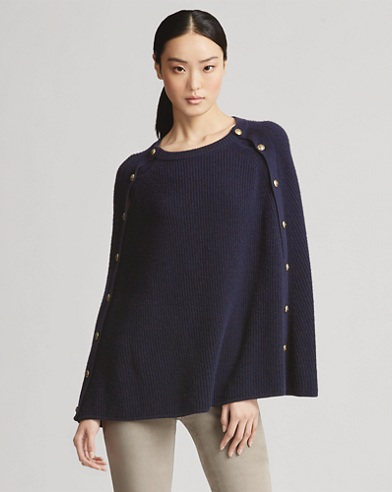 Button Cashmere Cape Sweater