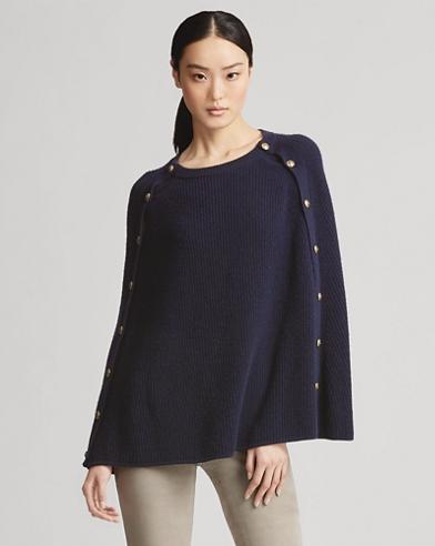 Button Cashmere Cape Sweater