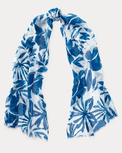 Palm-Leaf Cotton-Blend Scarf