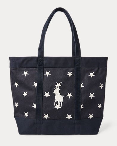 Star-Spangled Pony Cotton Tote. Polo Ralph Lauren