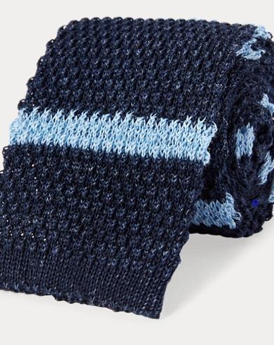 Striped Knit Linen-Cotton Tie
