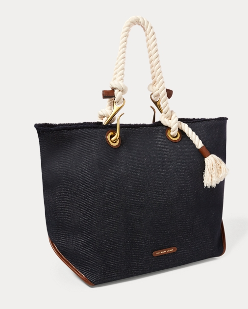 Polo Ralph Lauren Braided-Rope Canvas Tote 2 3d70a3149ce97