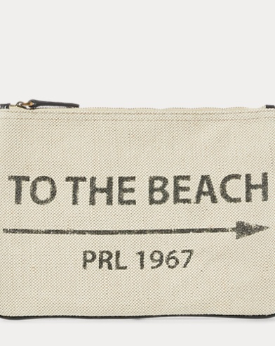 To-the-Beach Canvas Pouch
