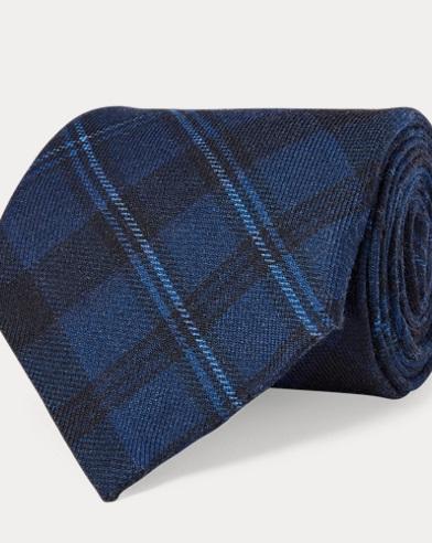 Plaid-Print Cashmere-Silk Tie