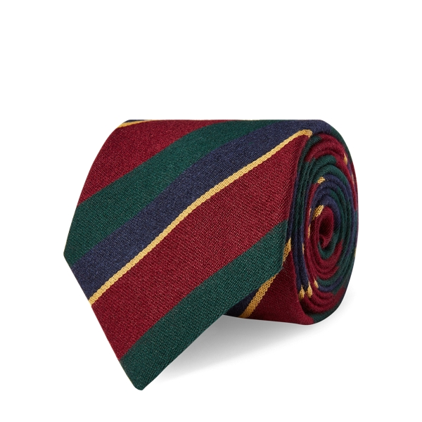 Ralph Lauren Regimental-Stripe Tie Wine/Navy/Green/Gold One Size