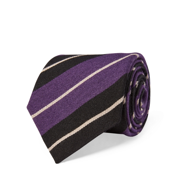 Ralph Lauren Regimental-Stripe Tie Black/Purple One Size