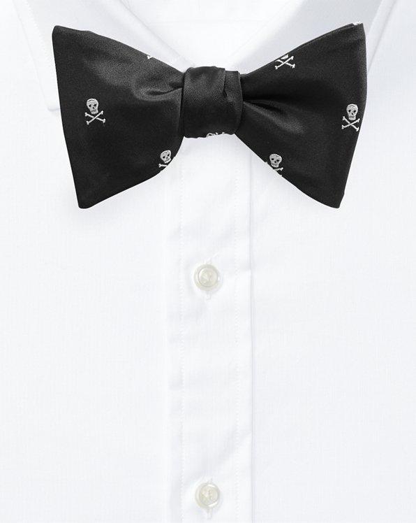 Skull-and-Bones Silk Bow Tie