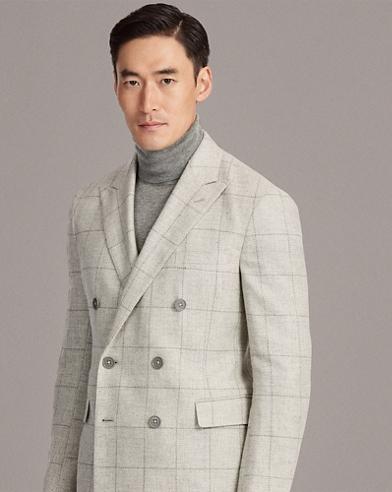Windowpane Tweed Suit Jacket