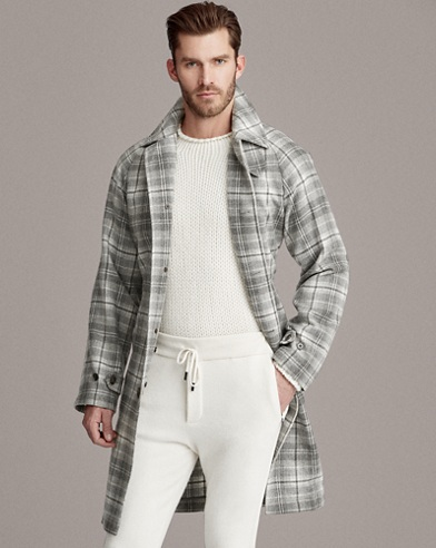 Plaid Cashmere Balmacaan Coat