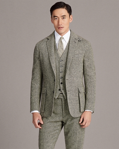 Wool Herringbone Suit Jacket