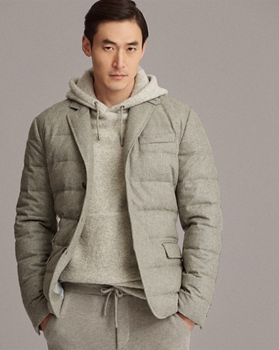 Wool-Blend Flannel Down Jacket