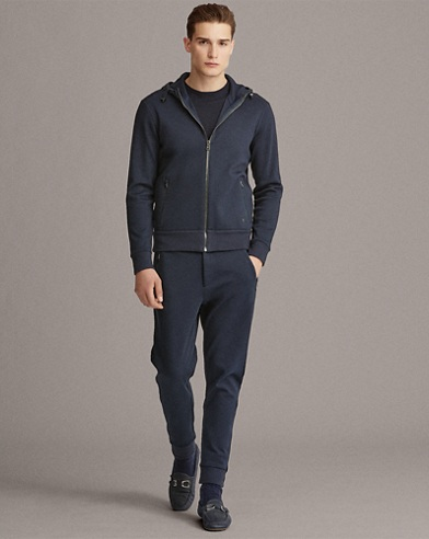 Contrast-Hood Interlock Jacket