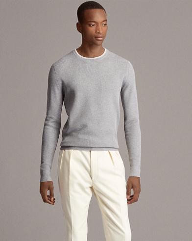 Waffle-Knit Cotton Sweater