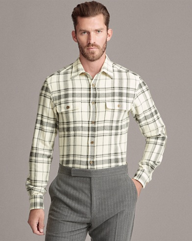 Plaid Wool-Blend Shirt
