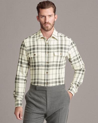 Plaid Wool-Blend Shirt