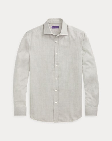 Tick-Weave Wool-Silk Shirt