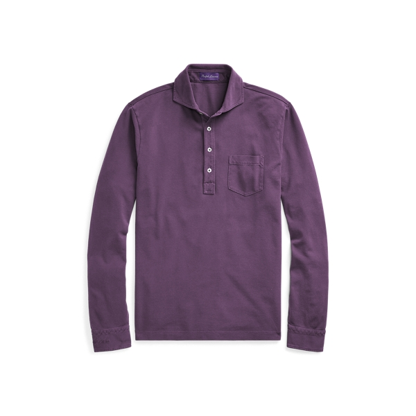 Ralph Lauren Custom Fit Cotton Piqué Shirt Washed Falmouth Purple L