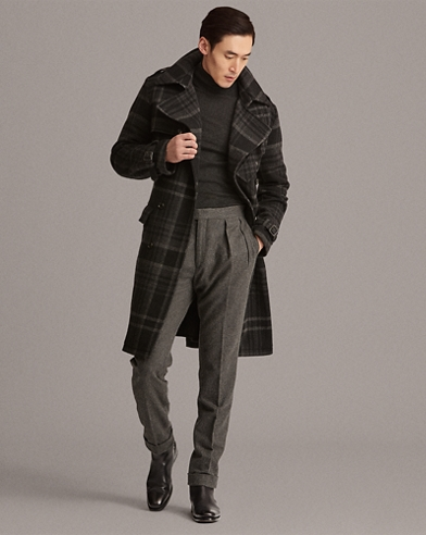 Plaid Wool Tweed Trench Coat