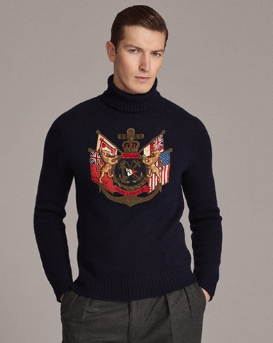 Bullion-Patch Cashmere Sweater