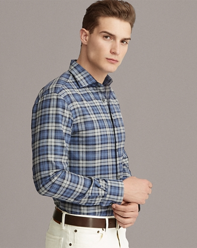 Garment-Dyed Plaid Twill Shirt