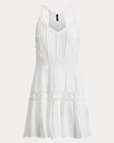 Ruffled Lace-Trim Cover-Up