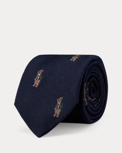 Corbata estrecha de lana y seda con el osito Polo