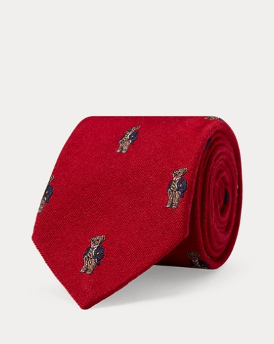 Polo Bear Wool-Silk Narrow Tie