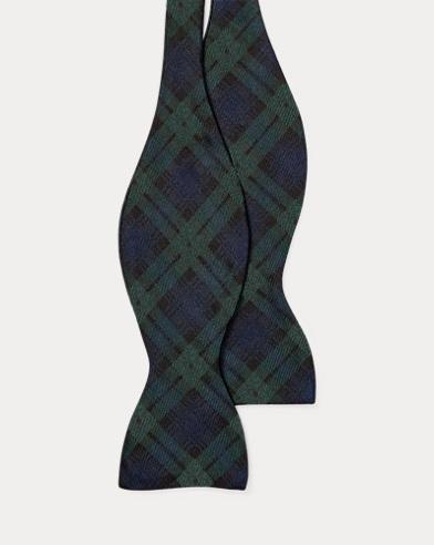 Skull-Tartan Wool Bow Tie