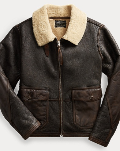 Leather-Trim Shearling Jacket