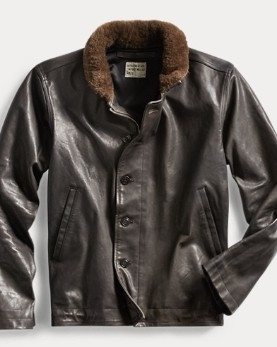 Shearling-Trim Leather Jacket