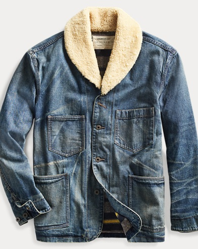 Shearling-Collar Denim Jacket