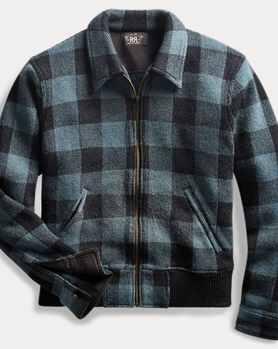 Indigo Plaid Full-Zip Sweater