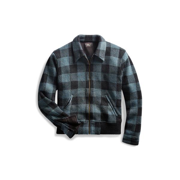 Ralph Lauren Indigo Plaid Full-Zip Sweater Blue S