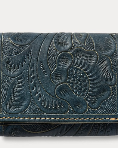 Tooled Indigo Leather Wallet