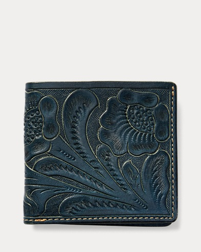 Tooled Indigo Leather Billfold