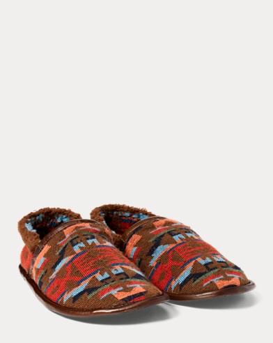 Pantofole in pile e pelle