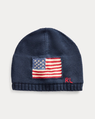 Intarsia-Knit-Flag Hat
